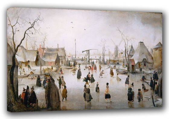 Avercamp, Hendrick: Ice Sports/On the Ice. Winter Landscape Fine Art Canvas. Sizes: A3/A2/A1 (00432)